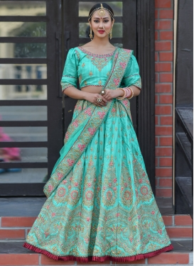 Art Silk Booti Work Trendy A Line Lehenga Choli
