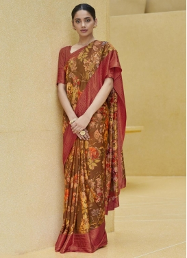 Art Silk Brown and Crimson Digital Print Work Designer Contemporary Saree