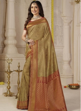 Art Silk Brown and Red Woven Work Designer Traditional Saree