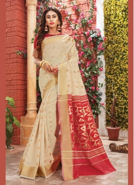 Art Silk Classic Saree in Cream