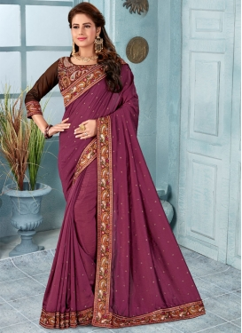 Art Silk Coffee Brown and Magenta Embroidered Work Traditional Saree