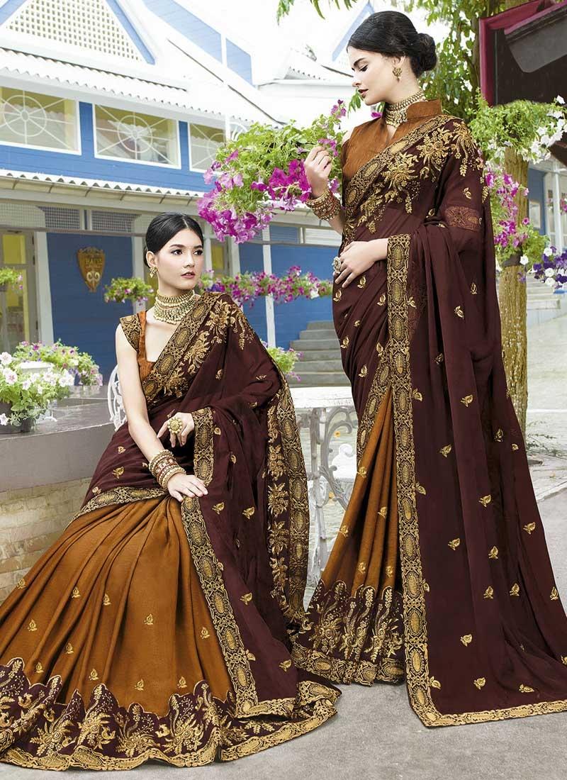 Art Silk Coffee Brown and Mustard Embroidered Work Half N Half Trendy Saree