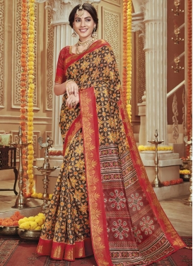 Art Silk Coffee Brown and Red Trendy Designer Saree