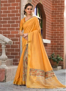 Art Silk Cotton Print Orange Traditional Saree
