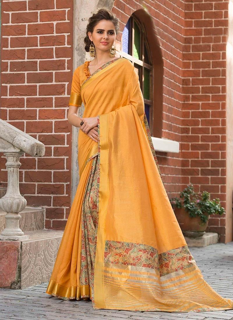 Art Silk Cotton Print Orange Traditional Saree