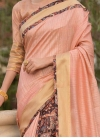 Art Silk Cotton Print Traditional Designer Saree in Peach - 1