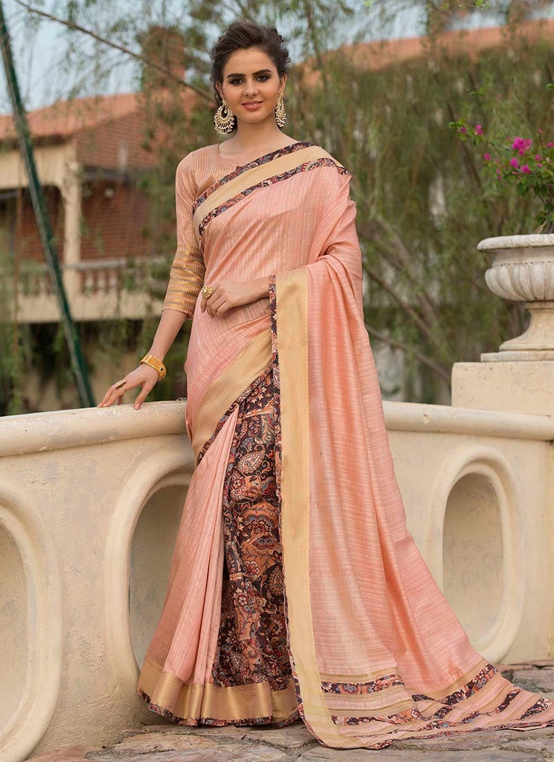Art Silk Cotton Print Traditional Designer Saree in Peach