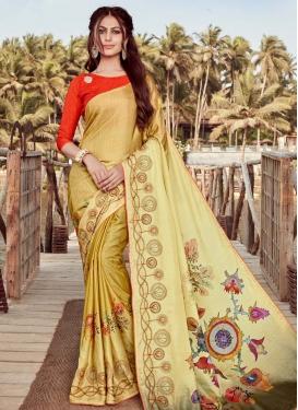Art Silk Cream and Gold Traditional Designer Saree For Festival
