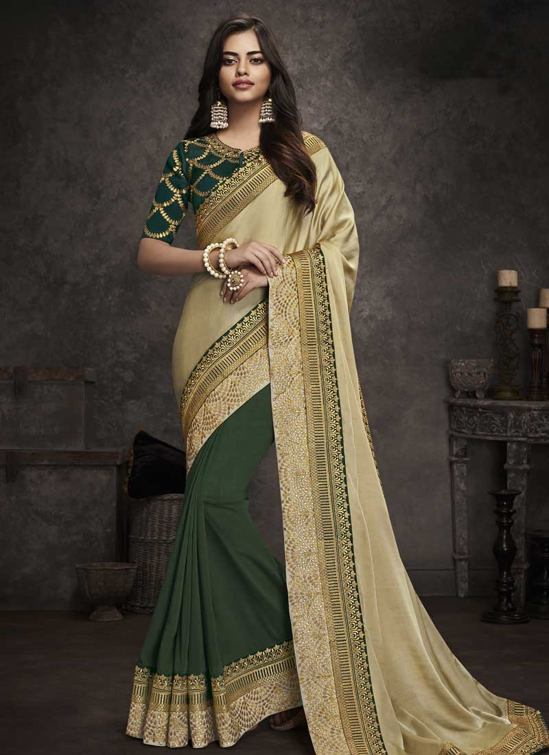 Art Silk Cream and Green Embroidered Work Half N Half Designer Saree