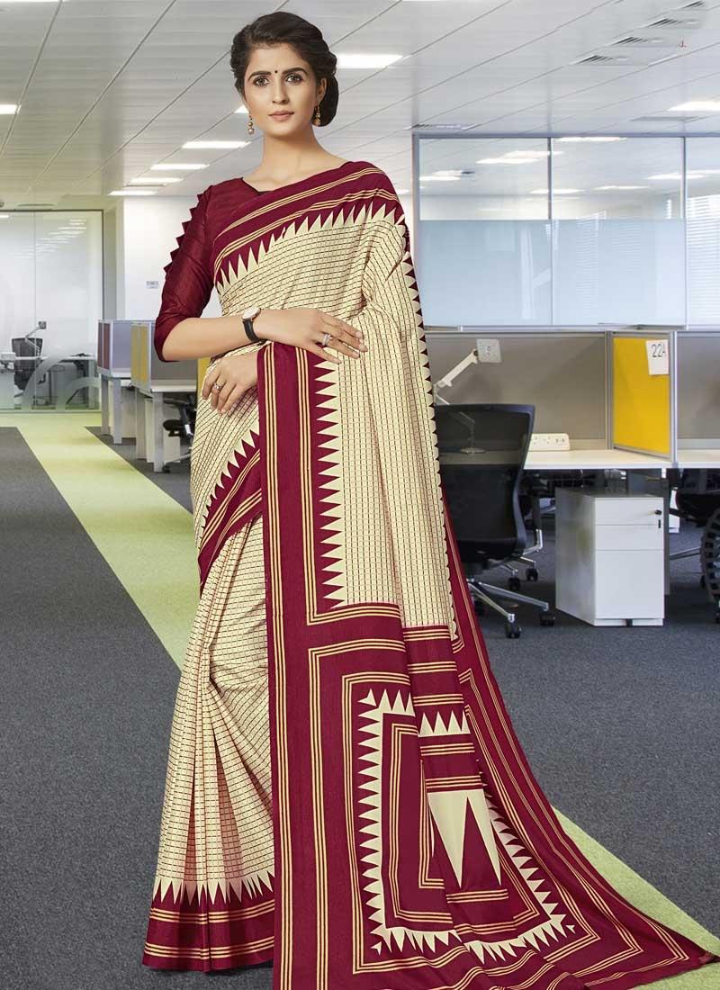 Art Silk Cream and Maroon Contemporary Saree For Casual