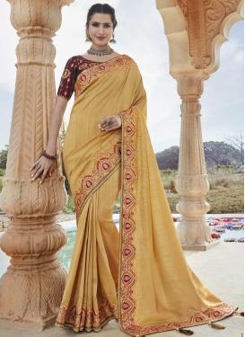 Art Silk Cream and Maroon Designer Contemporary Saree For Ceremonial