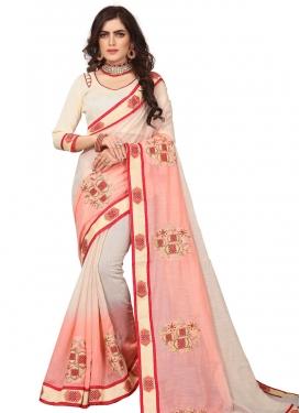 Art Silk Cream and Peach Traditional Designer Saree
