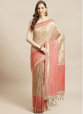 Art Silk Cream and Salmon Woven Work Designer Contemporary Saree
