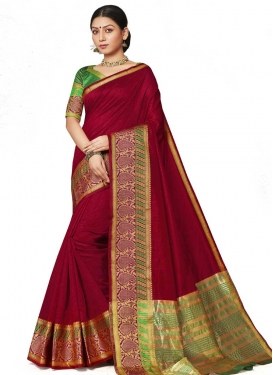 Art Silk Crimson and Green Traditional Saree
