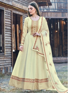 Art Silk Designer Floor Length Salwar Suit