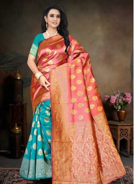 Art Silk Designer Half N Half Saree For Ceremonial