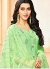 Art Silk Designer Palazzo Suit in Sea Green - 1