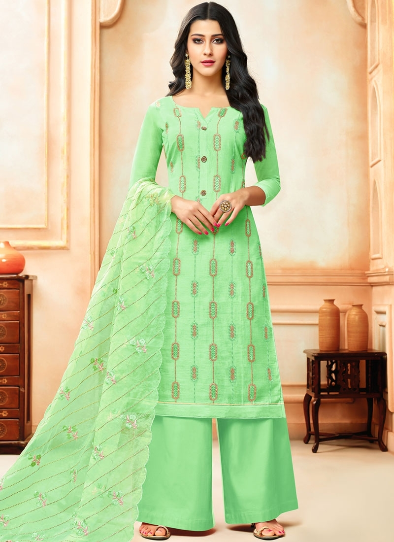 Art Silk Designer Palazzo Suit in Sea Green