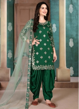 Art Silk Designer Patiala Salwar Kameez For Ceremonial