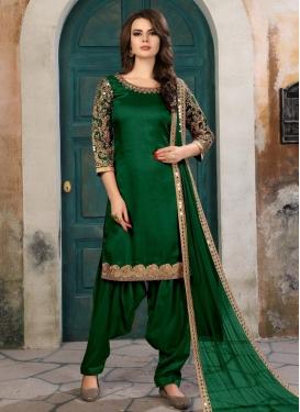 Art Silk Designer Semi Patiala Salwar Suit For Ceremonial