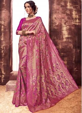 Art Silk Designer Traditional Saree in Rose Pink