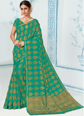 Art Silk Designer Traditional Saree in Sea Green