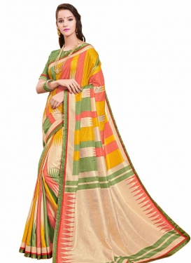Art Silk Digital Print Work Designer Contemporary Saree