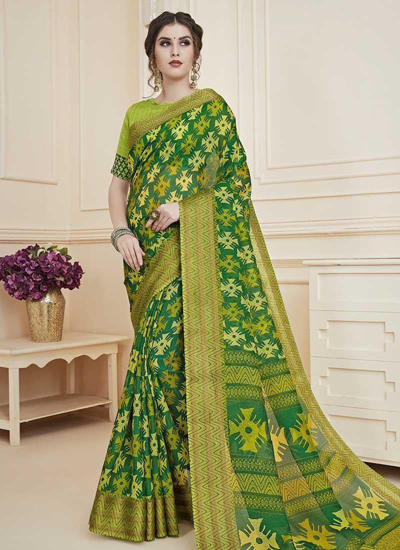 Art Silk Digital Print Work Designer Contemporary Style Saree