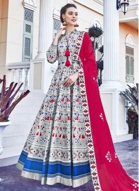 Art Silk Digital Print Work Readymade Trendy Gown