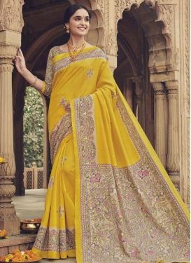 Art Silk Digital Print Work Traditional Designer Saree