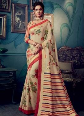 Art Silk Digital Print Work Traditional Saree