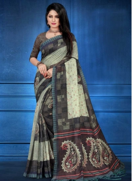 Art Silk Digital Print Work Trendy Classic Saree