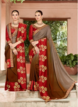 Art Silk Embroidered Brown and Grey Shaded Saree