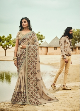 Art Silk Embroidered Cream Designer Traditional Saree