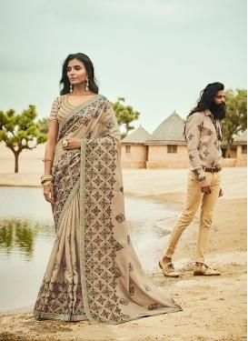Art Silk Embroidered Cream Designer Traditional Saree