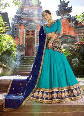 Art Silk Embroidered Firozi Designer Lehenga Choli