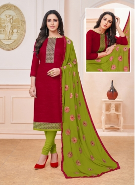 Art Silk Embroidered Maroon Churidar Suit