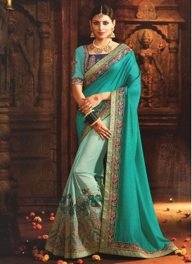 Art Silk Embroidered Work Aqua Blue and Turquoise Half N Half Designer Saree