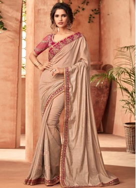 Art Silk Embroidered Work Beige and Fuchsia Designer Traditional Saree