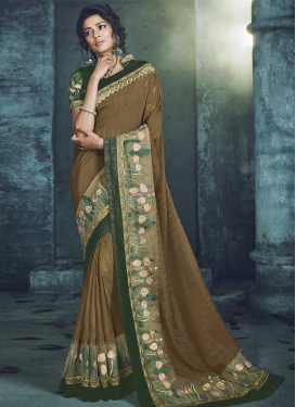 Art Silk Embroidered Work Brown and Green Designer Traditional Saree