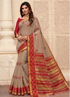 Art Silk Embroidered Work Brown and Red Designer Traditional Saree
