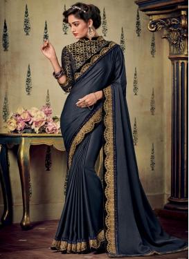 Art Silk Embroidered Work Designer Contemporary Saree