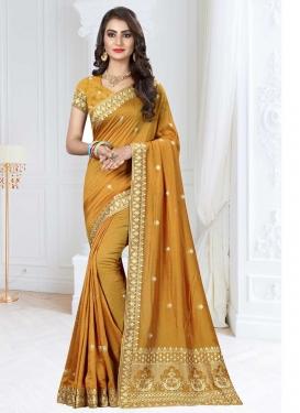 Art Silk Embroidered Work Designer Contemporary Style Saree