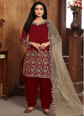 Art Silk Embroidered Work Designer Patiala Salwar Kameez