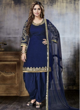 Art Silk Embroidered Work Designer Semi Patiala Salwar Suit