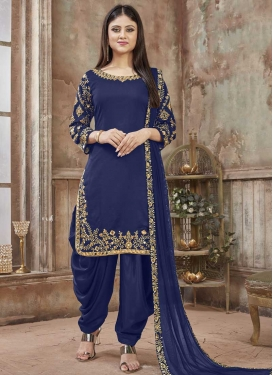 Art Silk Embroidered Work Designer Semi Patiala Salwar Suit