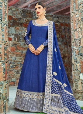 Art Silk Embroidered Work Floor Length Anarkali Salwar Suit