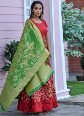 Art Silk Embroidered Work Floor Length Gown