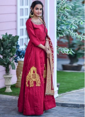 Art Silk Embroidered Work Floor Length Trendy Gown