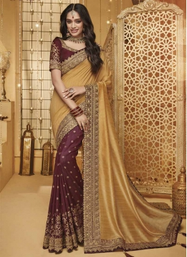 Art Silk Embroidered Work Half N Half Designer Saree